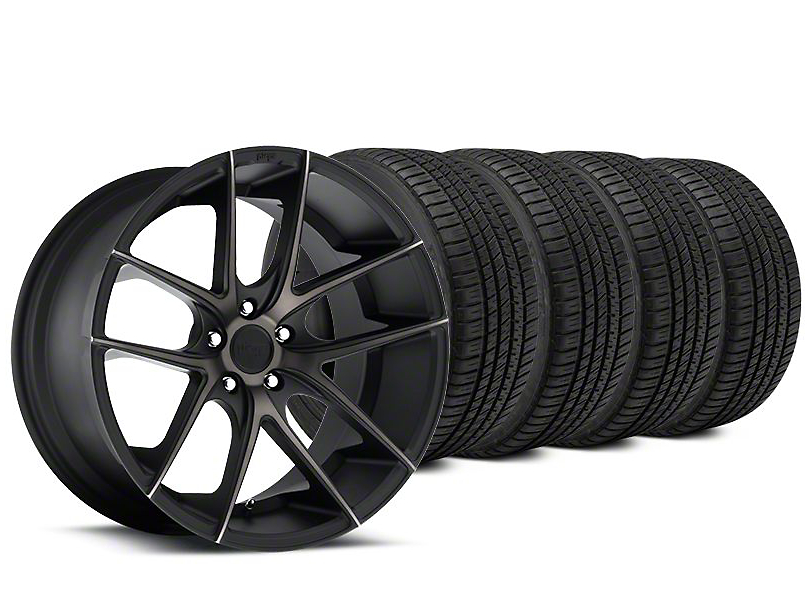 Staggered Niche Targa Matte Black Wheel & Michelin Pilot Sport A/S 3+ Tire Kit - 19x8.5/9.5 (15-19 GT, EcoBoost, V6)
