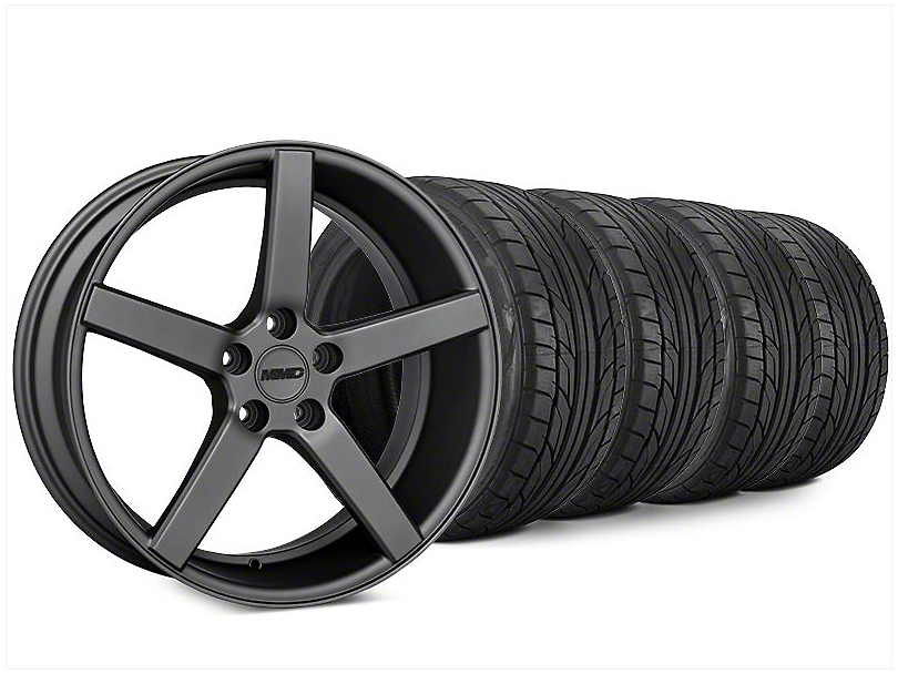 Staggered MMD 551C Charcoal Wheel and NITTO NT555 G2 Tire Kit; 20x8.5/10 (15-20 GT, EcoBoost, V6)