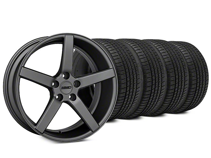Staggered MMD 551C Charcoal Wheel & Michelin Pilot Sport A/S 3+ Tire Kit - 20x8.5/10 (15-18 GT, EcoBoost, V6)