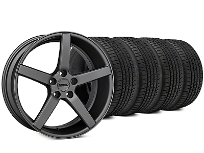 Staggered MMD 551C Charcoal Wheel & Michelin Pilot Sport A/S 3+ Tire Kit - 20x8.5/10 (15-17 GT, EcoBoost, V6)