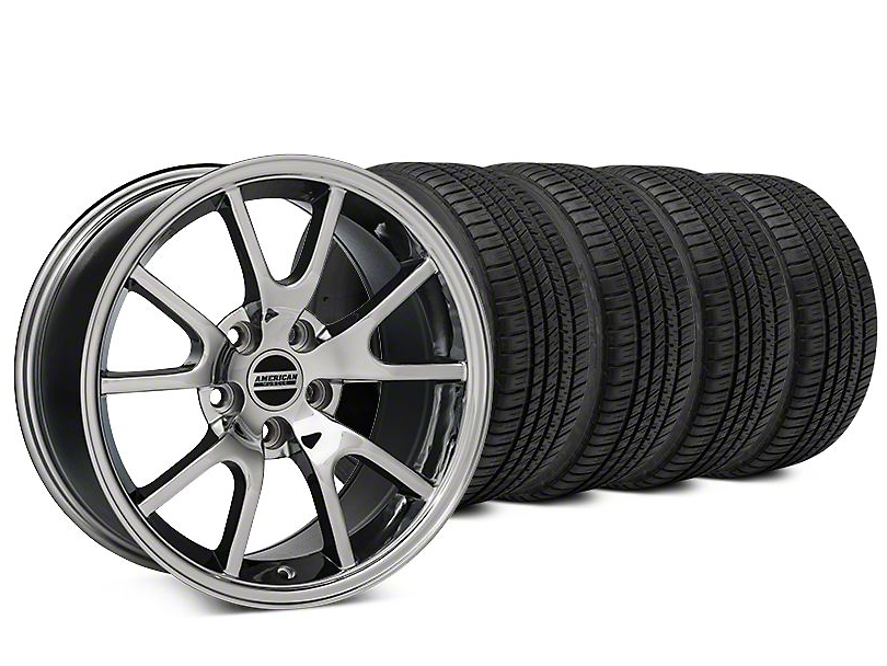Staggered FR500 Style Chrome Wheel & Michelin Pilot Sport A/S 3+ Tire Kit - 20x8.5/10 (15-18 All)