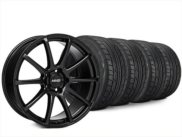 Staggered MMD Axim Black Wheel and NITTO NT555 G2 Tire Kit; 20x8.5/10 (15-20 GT, EcoBoost, V6)