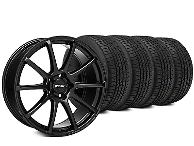 Staggered MMD Axim Black Wheel & Michelin Pilot Sport A/S 3+ Tire Kit - 20x8.5/10 (15-17 All)