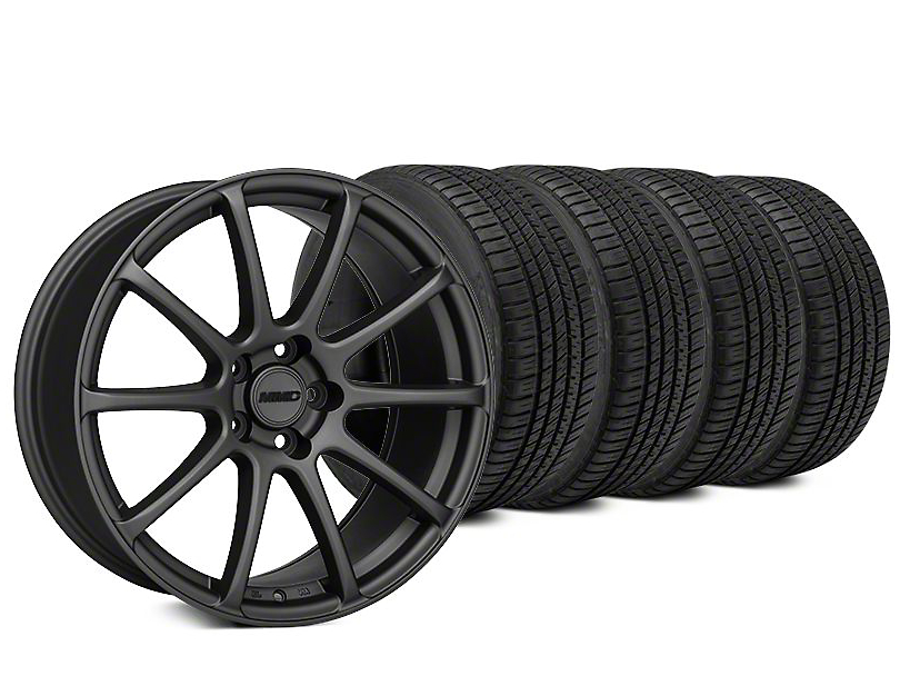 Staggered MMD Axim Charcoal Wheel & Michelin Pilot Sport A/S 3+ Tire Kit - 20x8.5/10 (15-19 All)