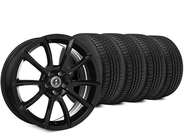 Staggered Super Snake Style Black Wheel & Michelin Pilot Sport A/S 3+ Tire Kit - 19x8.5/10 (15-17 All)