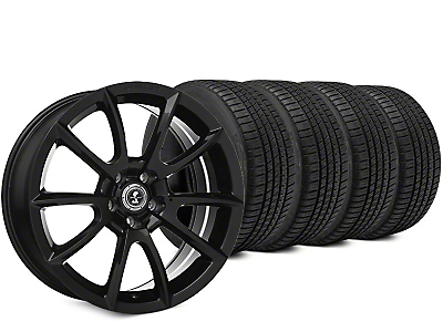 Staggered Super Snake Style Black Wheel & Michelin Pilot Sport A/S 3+ Tire Kit - 19x8.5/10 (15-18 All)