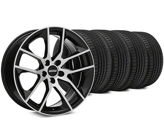 Staggered Magnetic Style Black Machined Wheel & Michelin Pilot Sport A/S 3+ Tire Kit - 19x8.5/10 (15-18 GT, EcoBoost, V6)