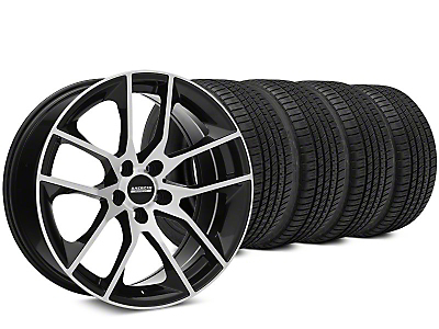 Staggered Magnetic Style Black Machined Wheel & Michelin Pilot Sport A/S 3+ Tire Kit - 19x8.5/10 (15-18 All)