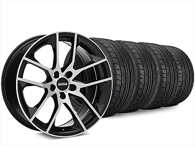 Staggered Magnetic Style Black Machined Wheel & NITTO NT555 G2 Tire Kit - 20x8.5/10 (15-18 GT, EcoBoost, V6)