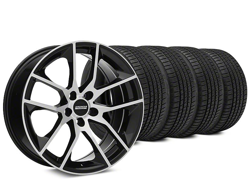 Staggered Magnetic Style Black Machined Wheel and Michelin Pilot Sport A/S 3+ Tire Kit; 20x8.5/10 (15-20 GT, EcoBoost, V6)