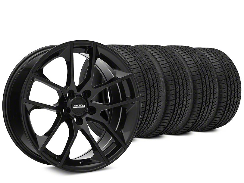 Staggered Magnetic Style Black Wheel & Michelin Pilot Sport A/S 3+ Tire Kit - 19x8.5/10 (15-18 GT, EcoBoost, V6)