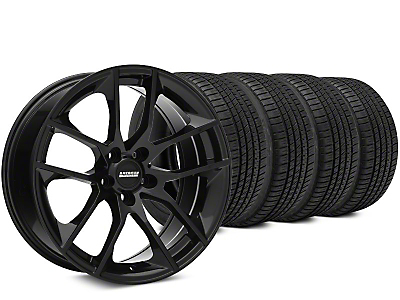 Staggered Magnetic Style Black Wheel & Michelin Pilot Sport A/S 3+ Tire Kit - 19x8.5/10 (15-19 GT, EcoBoost, V6)