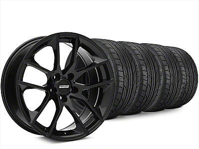 Staggered Magnetic Style Black Wheel & NITTO NT555 G2 Tire Kit - 20x8.5/10 (15-18 GT, EcoBoost, V6)
