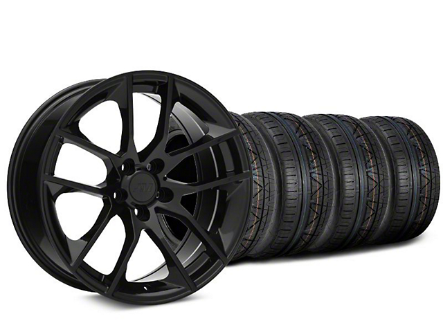 Staggered Magnetic Style Black Wheel & NITTO INVO Tire Kit - 20x8.5/10 (15-19 GT, EcoBoost, V6)