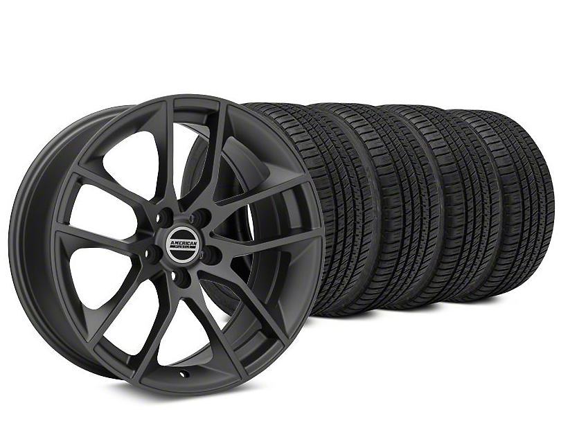 Staggered Magnetic Style Charcoal Wheel & Michelin Pilot Sport A/S 3+ Tire Kit - 19x8.5/10 (15-18 GT, EcoBoost, V6)