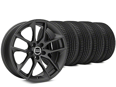 Staggered Magnetic Style Charcoal Wheel & Michelin Pilot Sport A/S 3+ Tire Kit - 19x8.5/10 (15-17 All)