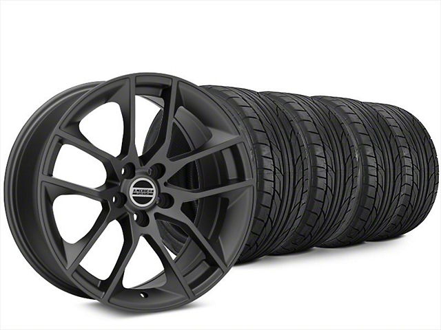 Staggered Magnetic Style Charcoal Wheel & NITTO NT555 G2 Tire Kit - 20x8.5/10 (15-18 GT, EcoBoost, V6)