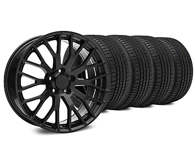 Staggered Performance Pack Style Black Wheel & Michelin Pilot Sport A/S 3+ Tire Kit - 19x8.5/10 (15-19 GT, EcoBoost, V6)