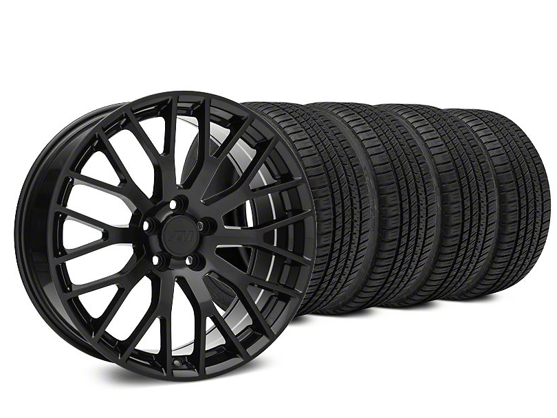 Staggered Performance Pack Style Black Wheel & Michelin Pilot Sport A/S 3+ Tire Kit - 20x8.5/10 (15-19 GT, EcoBoost, V6)