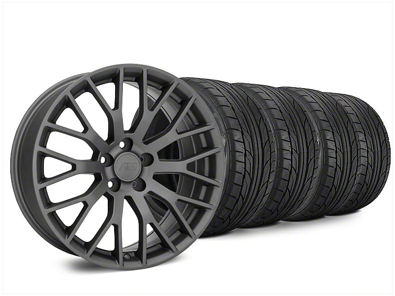 Staggered Performance Pack Style Charcoal Wheel & NITTO NT555 G2 Tire Kit - 20x8.5/10 (15-20 GT, EcoBoost, V6)