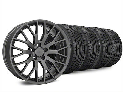Staggered Performance Pack Style Charcoal Wheel & NITTO NT555 G2 Tire Kit - 20x8.5/10 (15-17 All)