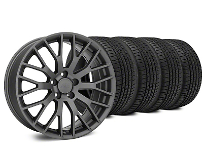 Staggered Performance Pack Style Charcoal Wheel & Michelin Pilot Sport A/S 3+ Tire Kit - 20x8.5/10 (15-17 All)