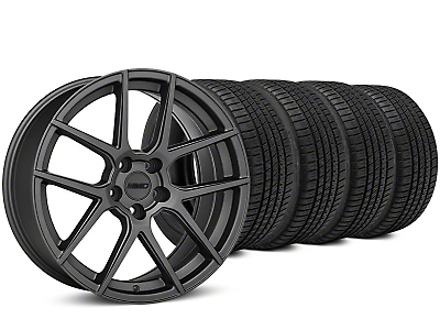 Staggered MMD Zeven Charcoal Wheel & Michelin Pilot Sport A/S 3+ Tire Kit - 19x8.5/10 (15-18 All)