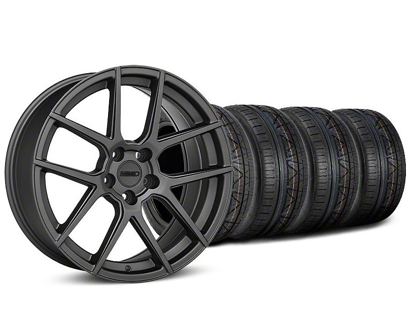 MMD Staggered Zeven Charcoal Wheel & NITTO INVO Tire Kit - 19x8.5/10 (15-18 GT, EcoBoost, V6)