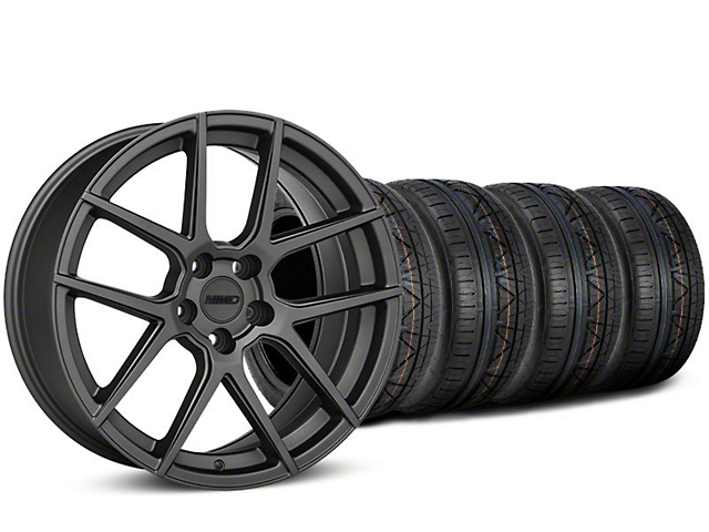MMD Staggered Zeven Charcoal Wheel & NITTO INVO Tire Kit - 19x8.5/10 (15-19 GT, EcoBoost, V6)