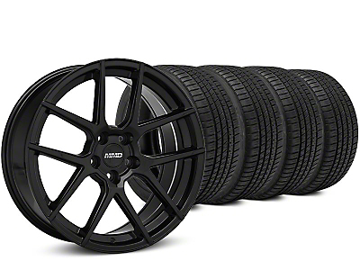 Staggered MMD Zeven Black Wheel & Michelin Pilot Sport A/S 3+ Tire Kit - 19x8.5/10 (15-17 All)