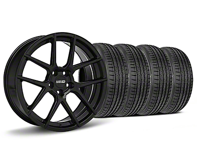 MMD Staggered Zeven Black Wheel & Sumitomo HTR Z III Tire Kit - 19x8.5/10 (15-17 All)