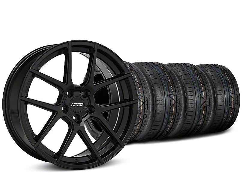 MMD Staggered Zeven Black Wheel & NITTO INVO Tire Kit - 19x8.5/10 (15-18 All)