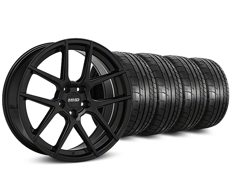 MMD Staggered Zeven Black Wheel & Mickey Thompson Street Comp Tire Kit - 19x8.5/10 (15-17 All)