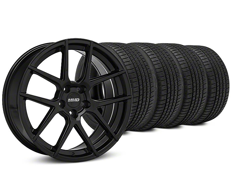 Staggered MMD Zeven Black Wheel & Michelin Pilot Sport A/S 3+ Tire Kit - 20x8.5/10 (15-18 All)
