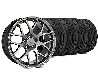 Staggered AMR Dark Stainless Wheel & Michelin Pilot Sport A/S 3+ Tire Kit - 19x8.5/10 (15-18 GT, EcoBoost, V6)