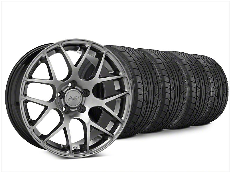 Staggered AMR Dark Stainless Wheel & NITTO NT555 G2 Tire Kit - 20x8.5/10 (15-19 GT, EcoBoost, V6)