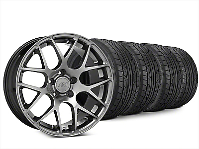 Staggered AMR Dark Stainless Wheel & NITTO NT555 G2 Tire Kit - 20x8.5/10 (15-18 GT, EcoBoost, V6)