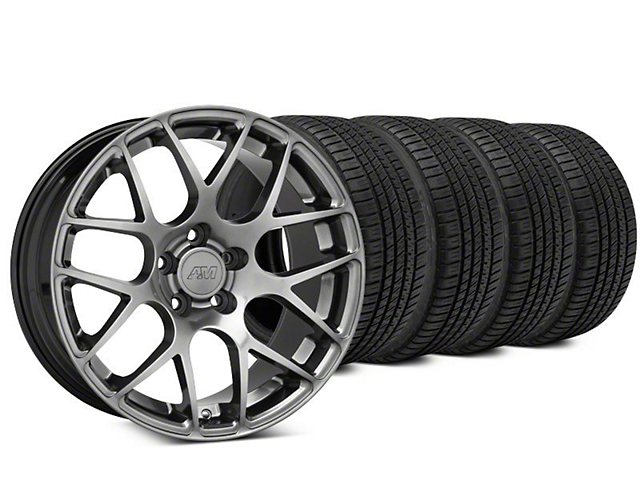 Staggered AMR Dark Stainless Wheel & Michelin Pilot Sport A/S 3+ Tire Kit - 20x8.5/10 (15-17 All)