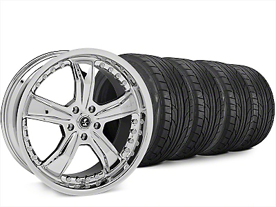 Staggered Shelby Razor Chrome Wheel & NITTO NT555 G2 Tire Kit - 20x9/10 (15-18 All)