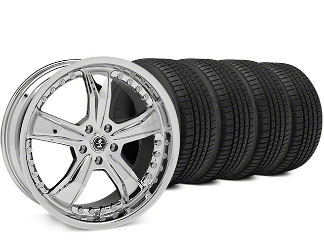 Staggered Shelby Razor Chrome Wheel & Michelin Pilot Sport A/S 3+ Tire Kit - 20x9/10 (15-18 All)