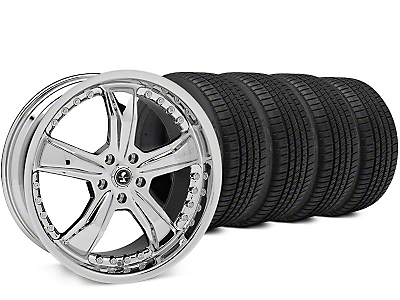 Staggered Shelby Razor Chrome Wheel & Michelin Pilot Sport A/S 3+ Tire Kit - 20x9/10 (15-17 All)