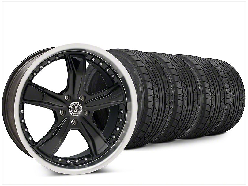 Staggered Shelby Razor Black Wheel & NITTO NT555 G2 Tire Kit - 20x9/10 (15-17 All)