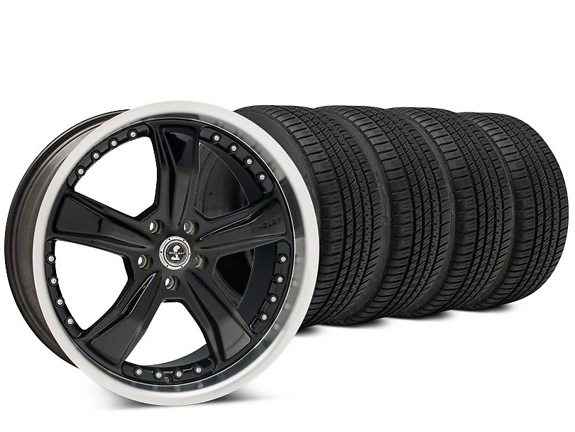 Staggered Shelby Razor Black Wheel & Michelin Pilot Sport A/S 3+ Tire Kit - 20x9/10 (15-19 All)