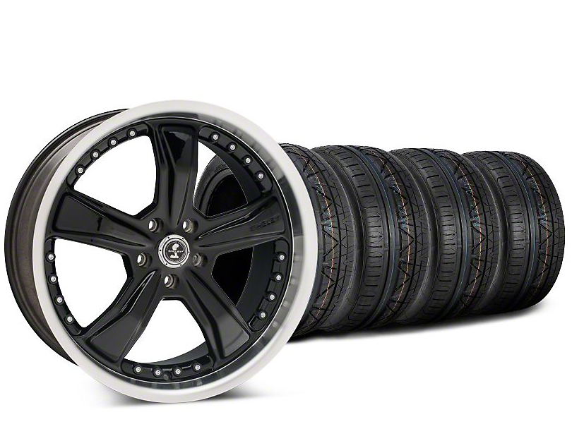 Staggered Shelby Razor Black Wheel & NITTO INVO Tire Kit - 20x9 (15-18 GT, EcoBoost, V6)