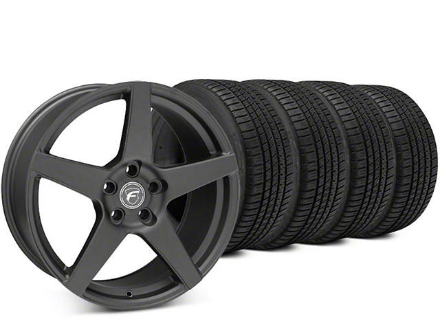 Staggered Forgestar CF5 Matte Black Wheel & Michelin Pilot Sport A/S 3+ Tire Kit - 19x9/10 (15-17 All)