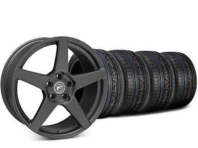 Staggered Forgestar CF5 Matte Black Wheel & NITTO INVO Tire Kit - 19x9/10 (15-17 All)