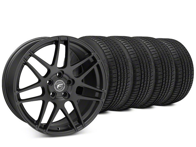 Staggered Forgestar F14 Matte Black Wheel & Michelin Pilot Sport A/S 3+ Tire Kit - 19x9/10 (15-17 All)