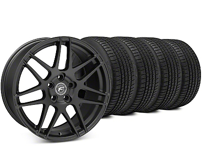 Staggered Forgestar F14 Matte Black Wheel & Michelin Pilot Sport A/S 3+ Tire Kit - 19x9/10 (15-19 All)