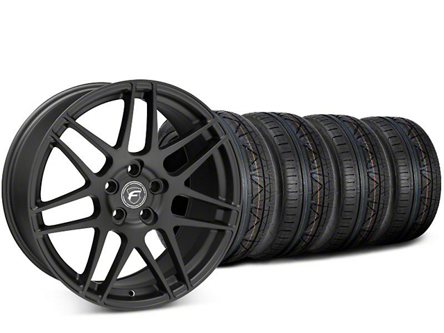 Staggered Forgestar F14 Matte Black Wheel & NITTO INVO Tire Kit - 19x9 (15-18 All)
