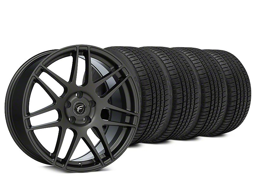 Staggered Forgestar F14 Gunmetal Wheel & Michelin Pilot Sport A/S 3+ Tire Kit - 19x9/10 (15-20 EcoBoost, V6)